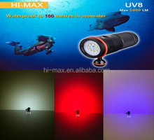 High intensity 140 wide beam angle Red/UV diving video light 5000lumen