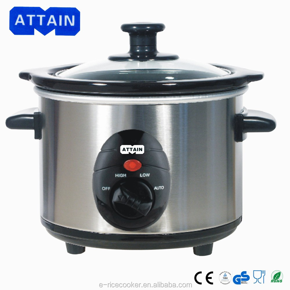 2016 Promotion stock stainless steel outer shell 1.5L Mini slow cooker