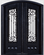 China factory interior safety arch top double wrought iron door