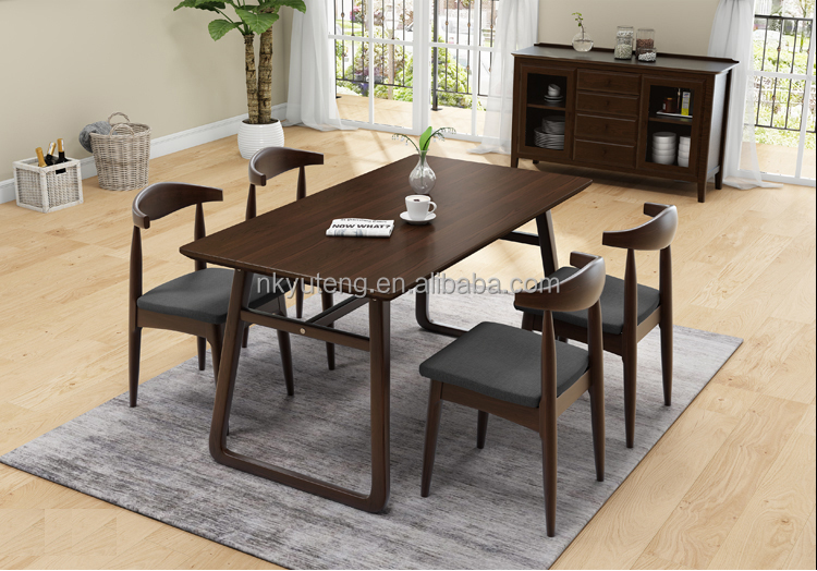 Special offer full solid wood dining table and chair simple modern family dining table set