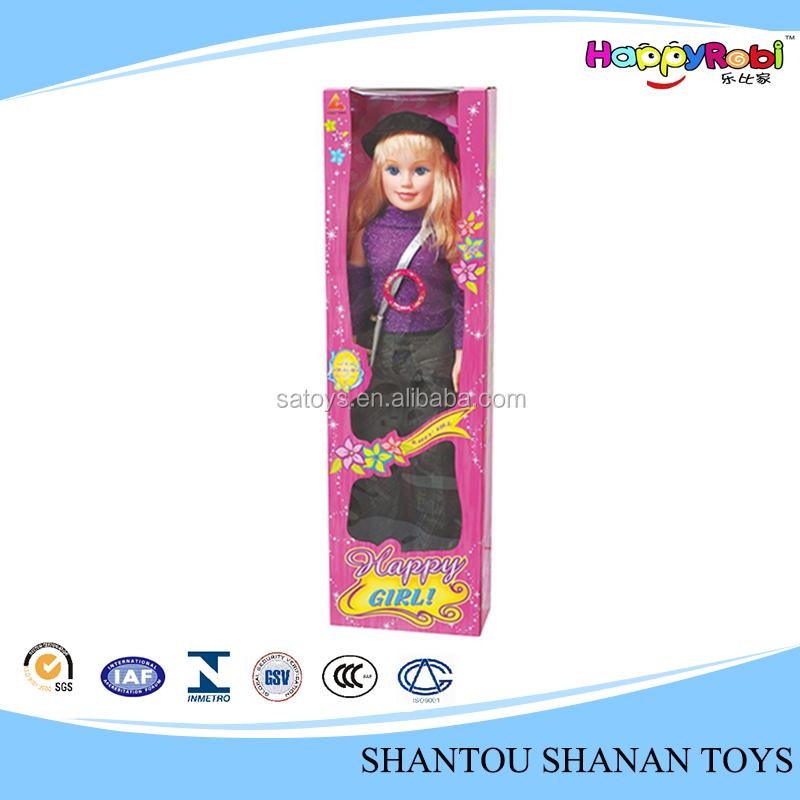 Hot sales fashion toy beautiful plastic dress up doll