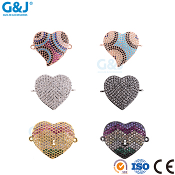 guojie brand wholesale Fashion Pendant Double Loops Charm Connector For heart shape Pendant