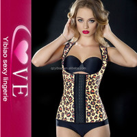 Latex Rubber And Cotton Leopard Waist Training Bustiers Underwear Mature XXXL Sexy Corsets
