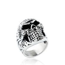 Men's 316L Stainless Steel Silver Black Skull Bone Ring, Gothic Vintage Biker Ring