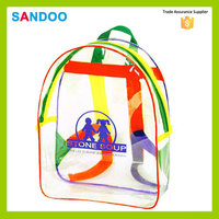 China new style product children's custom Imprinted Clear Backpack, fashion simple clear plastic backpack