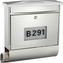 FQ-196 Cast iron metal vertical mailbox stainless steel solar house numbers wall mounted letterbox