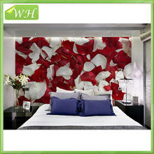 Large mural wallpaper 3D wedding room rose petal wallpaper bedroom living room TV background wallpaper