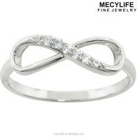 MECYLIFE Eternally Love Stainless Steel Fashion Zircon Infinity Ring