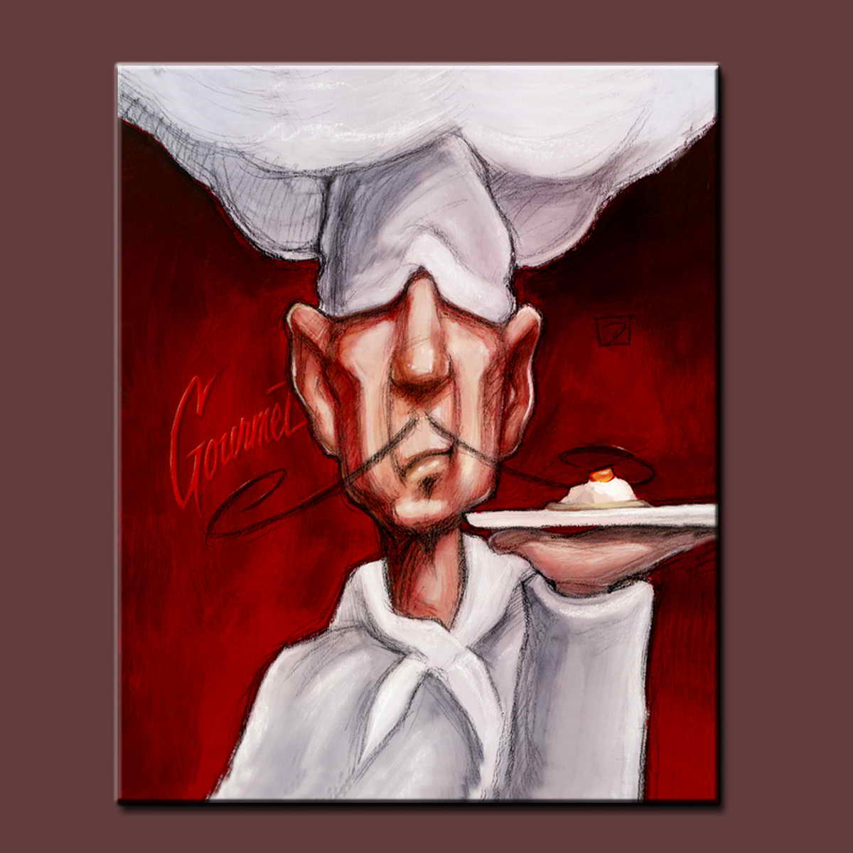 contemporary oil paintings of chef kitchen decoration