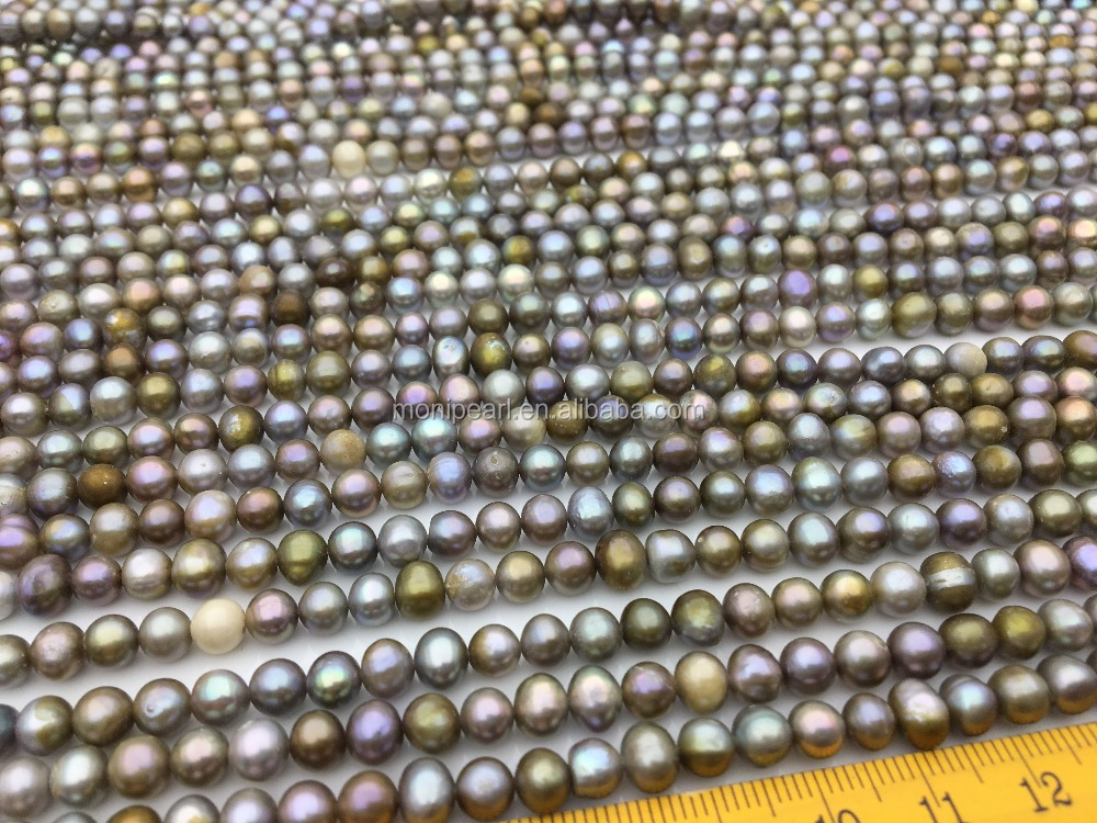 AA 5-6mm Gray Bronze potato pearls,genuine cultured fresh water pearl strand,for pearl necklace