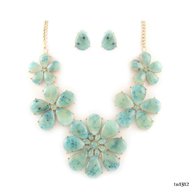 Fashion flower shaped statement gemstones wholesale catalogs free jewelry set