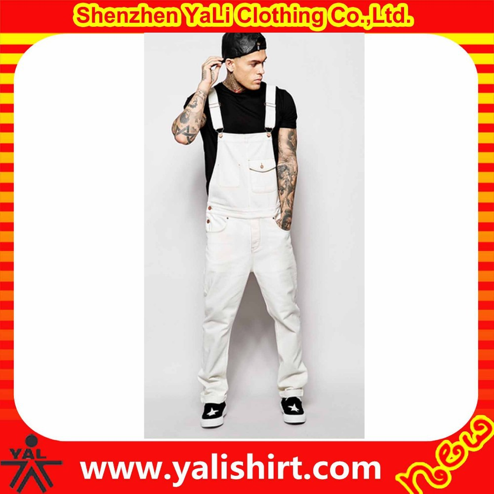 High quality custom fancy vintage washed cotton/polyester hip hop white overalls jeans men