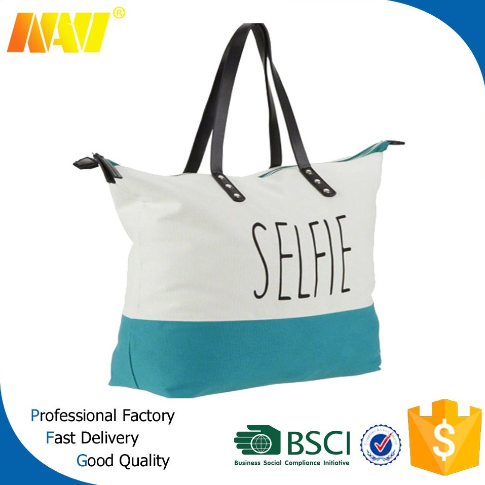 New nylon promotional tote shoulder zipper bag with leather handle on top