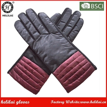 Women's Sexy Unlined Black and Bordeaux Contrast Pleated Polyester Fabric Dress Gloves