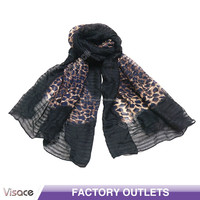 Fancy Fabric Scarf--Leopard Grain-Black