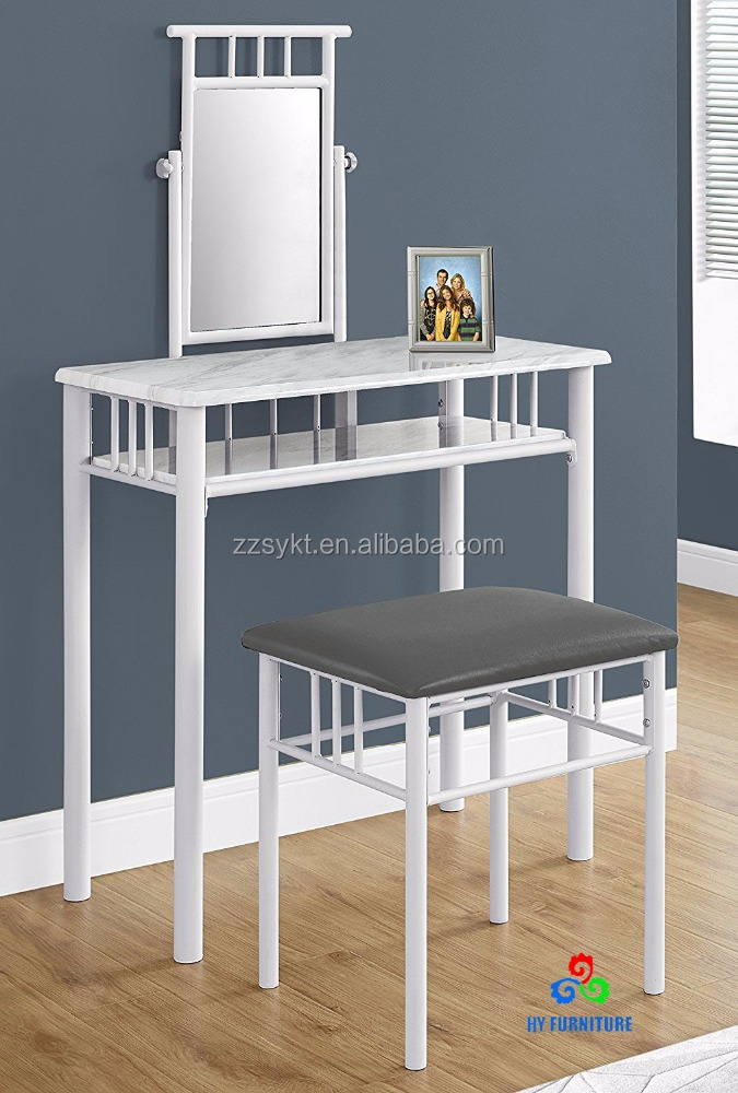 Metal dressing table set makeup vanity dresser table and stool set wholesale