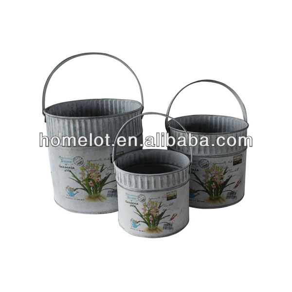 China Suppliers Home Decorative Different Types Set of 3 Metal Bulk Flower Pots