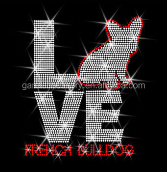 Hot fix Rhinestone Motif Love French Bulldog transfer for shirt