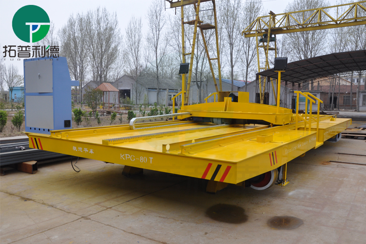 Workshop electric platform trolley with automatic dumping device