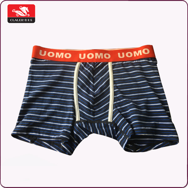 Fashion comfortable custom size sexy stripe cotton boxer underwear men