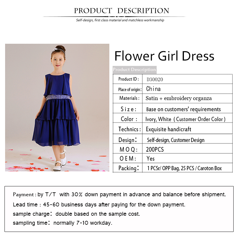 D30020 Flower Girl Dress Royal Blue Color with Beads Belt
