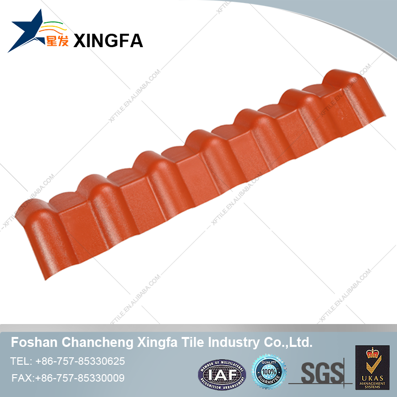Purplish red synthetic resin roof tile ridge caps