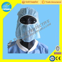 Protective surgical disposable head cover with face mask,mainly used in food processing