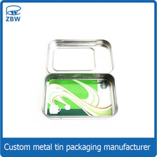 Hinged lid new style business card tin usb flash disk metal box with window