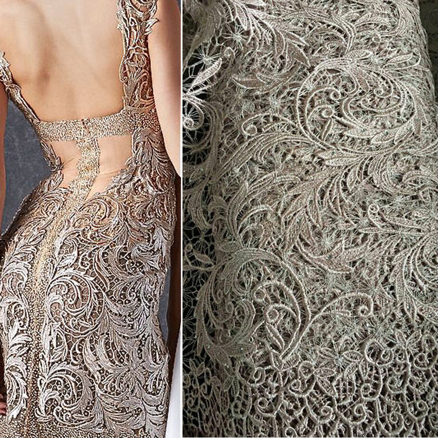 2016 Fashion cotton guipure lace fabric cord lace fabrics evening dress