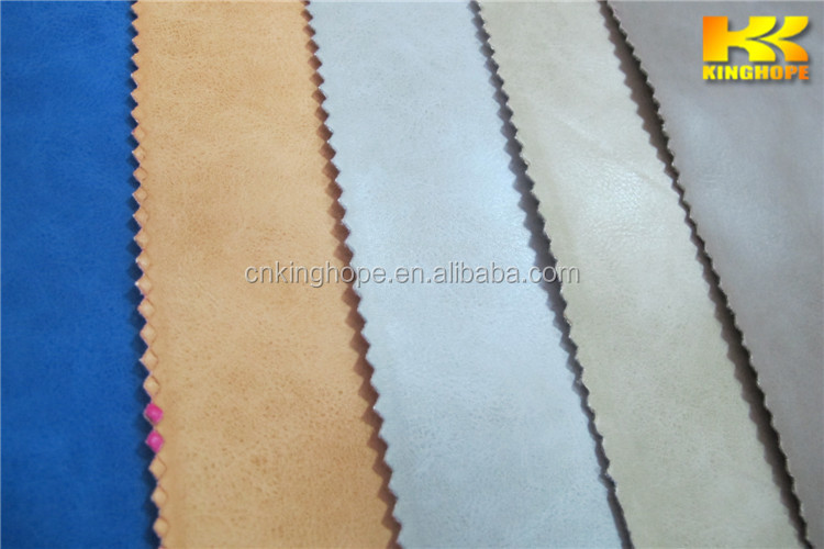Khaki pu furniture leather material with fashion design