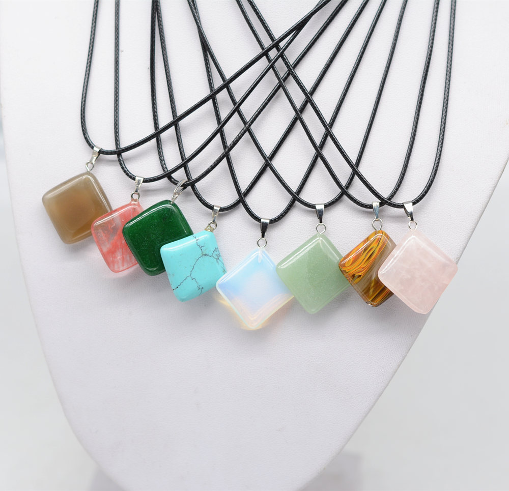 Black Leather Cord Chain Mixed Nature Stone Crystal Rhombus Shape Necklace