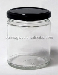 400ml clear glass straight side round jars with black metal caps