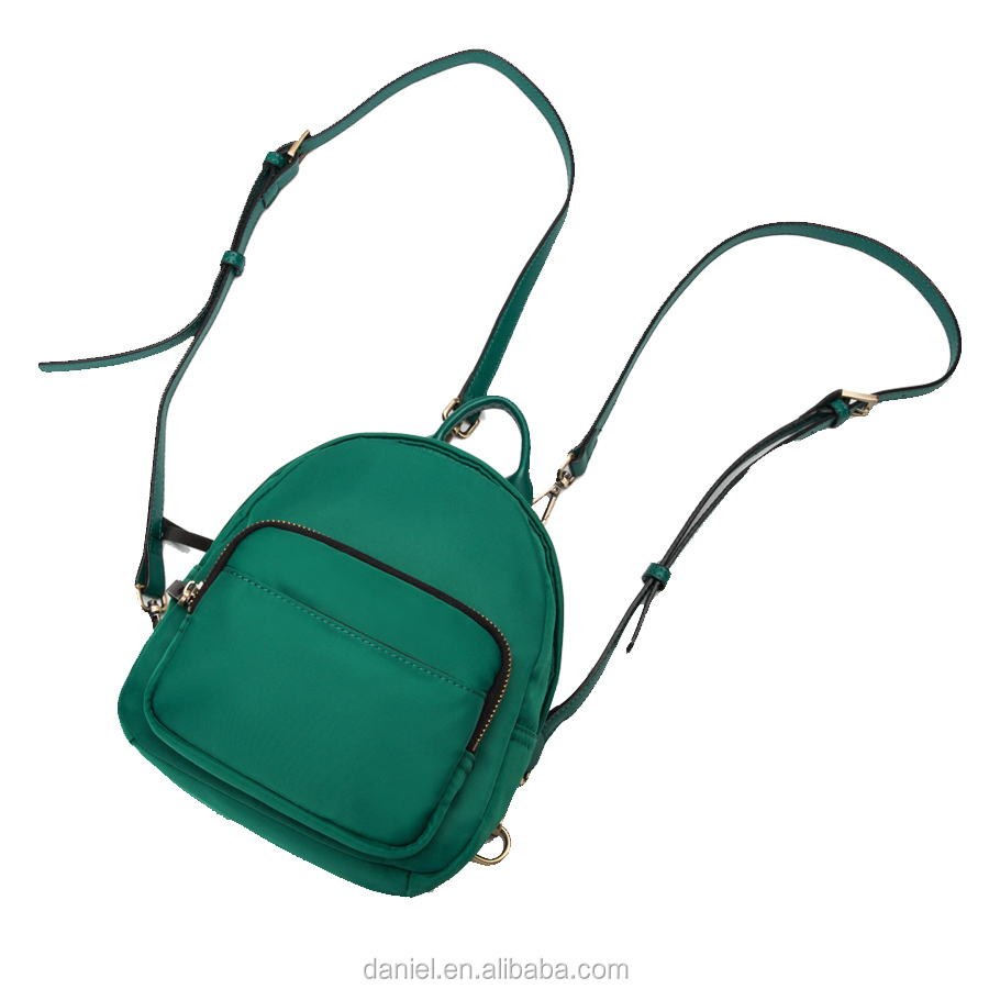 Women backpacks waterproof nylon with genuine leather trim mini packbags China manufacturer