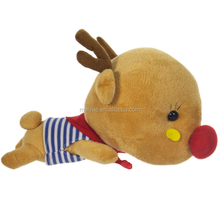 Cute Polyester Stuffing Kawayi Laying Deer with Scarf