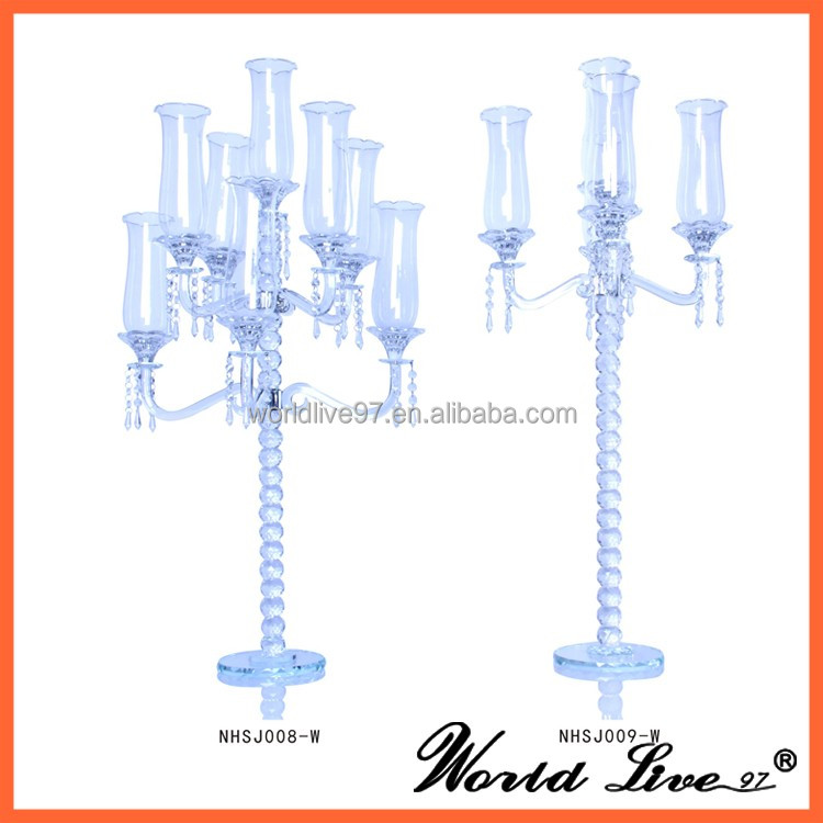 9 lite luxury gold decorative wedding crystal candelabra or glass candelabra