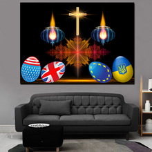 Hot Sale Easter Eggs Print Picture Lighted International Flags Canvas Painting With LED Light