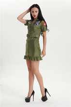 walson 2015 Women's SEXY Top Gun Flight Suit Dress Outfit Halloween Party Costume