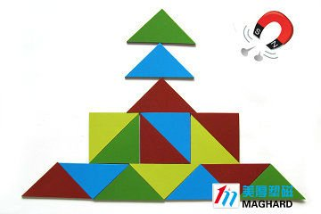 DIY educational Toy Magnetic Puzzle both sides color PVC triangle 16pcs/set