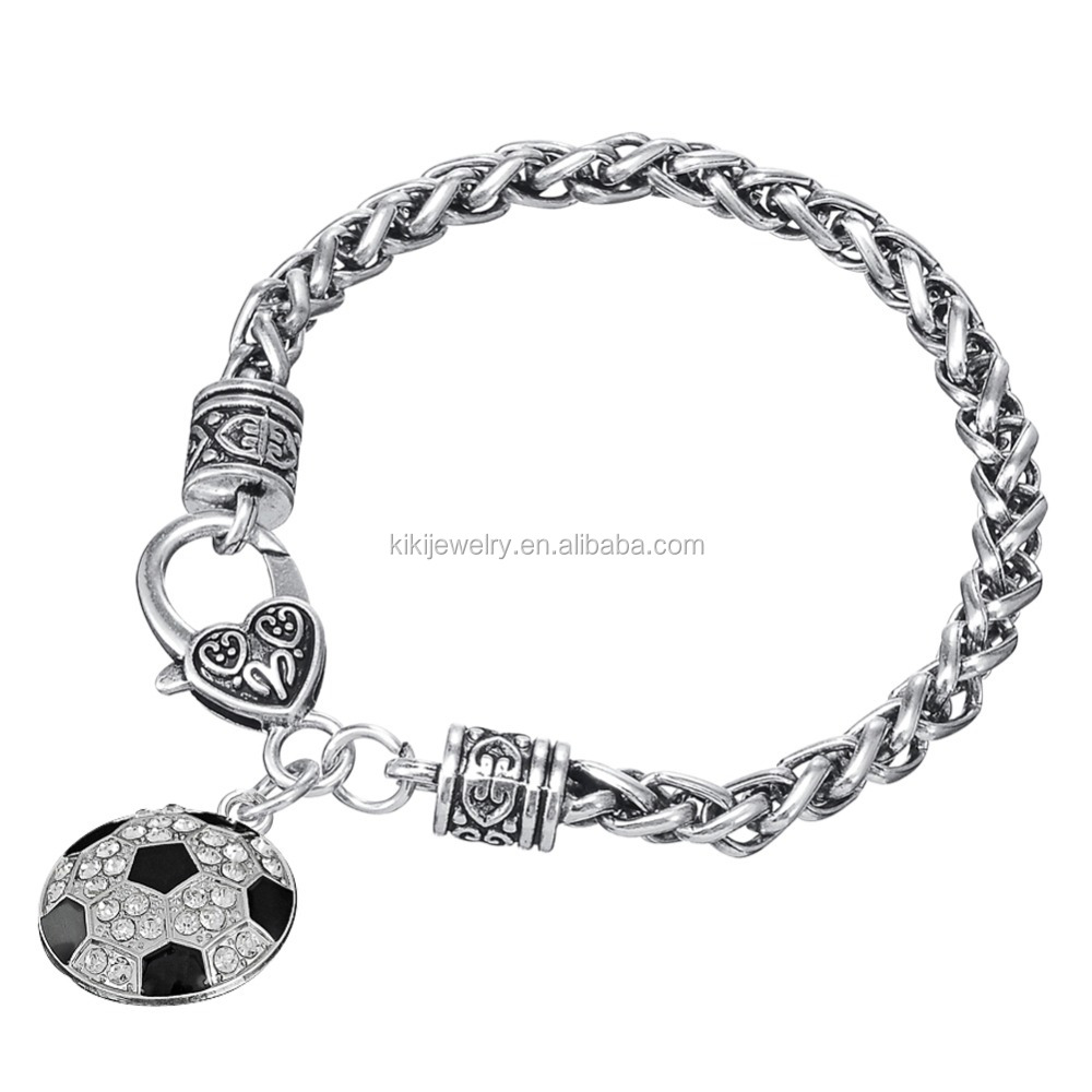 Classic Sport Black Silver Clear Crystal Soccer Ball Charm Bracelet For Men