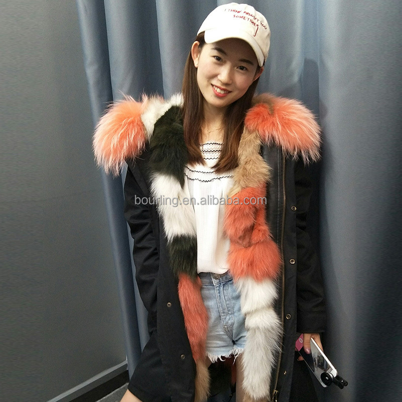 Military womens Multicolor fur hooded parka long sleeve fashion real fox fur collar fur parka