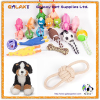 wholesale bite dumbbell dog chew toys; pet toys with cotton rope dog frisbee; plastic toy football