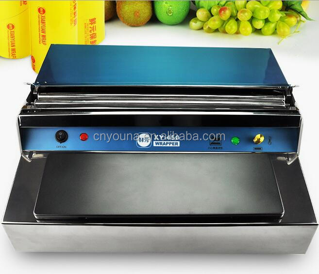 manual food tray preservative film wrapping machine for supermarket
