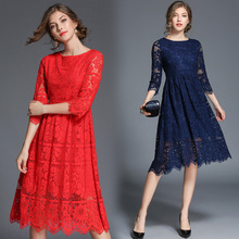 2017 Fall Elegant Women's New Red / Navy Blue Hollow Long Sleeve Slim Autumn Lace Prom Dress