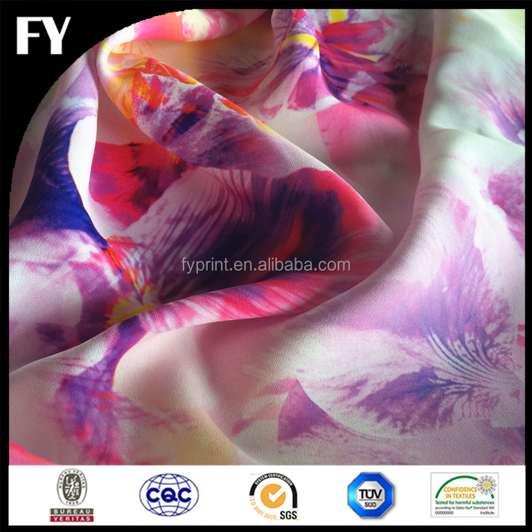 Digital Printing Silk Crepe De Chine Fabric