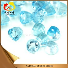 Wholesale Round Checkerboard Cut Natural Rough Sky Blue Topaz