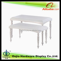 brand name store display furnitures, white tables fitting for display commodity