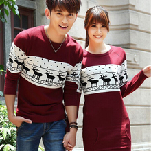 Christmas party Sweaters And Pullovers Leisure Long Sleeve O-Neck Lovers Couple Christmas Sweaters