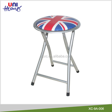 Printed Vinyl Cushioned Metal Folding Stool