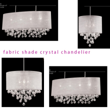 CE, UL oval crystal ball pendant lamp in silver silk shade MD2048-XL