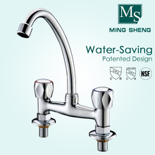 Wholesale price Chrome Plated Deck Mounted Dual Hole Double Handweel Handles Kitchen Sink Workboard Faucets Product